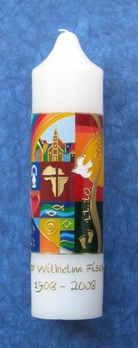 Kerze zum Gedenken an Pater Willi