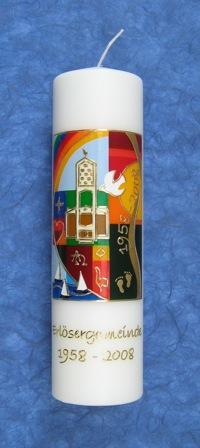 Kerze von der ACKO für die Erlösergemeinde